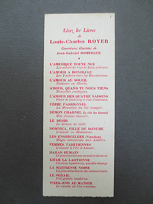 BOOKMARK Vintage French 1940s Read the Books of Louis Charles Royer Pulp Fiction