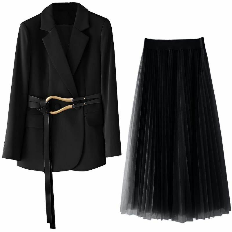 Übergröße Damen Blazer Kleid Lang Jacke Netz Rock Zwei Stück Satz mit Gürtel