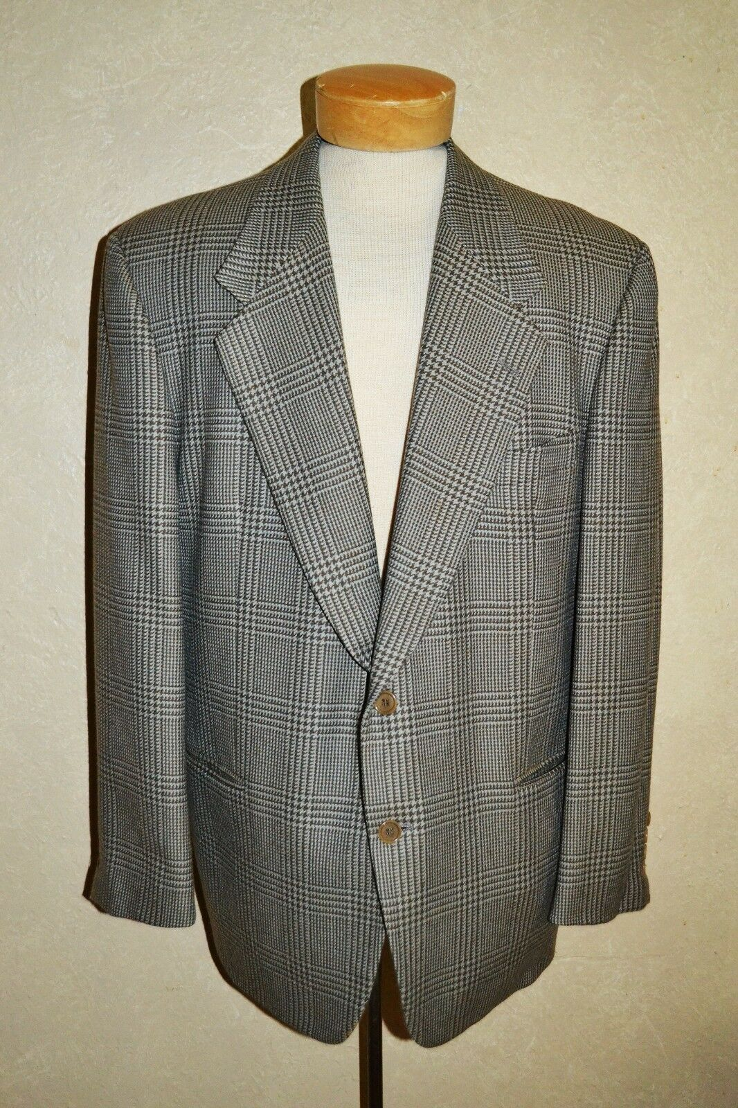 RARE Valentino COUTURE 44 Soft Wool grau/Camel/Ecru/Tan Windsor Plaid Sport Coat