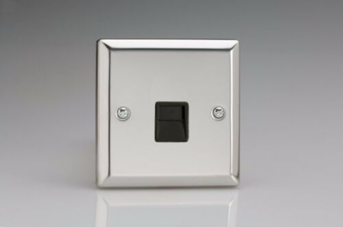 Varilight Miroir Chrome Standard plaque interrupteurs douilles etc Avec Noir Inserts