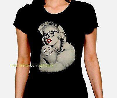 New JUNIOR/'S Round MARILYN MONROE NERD T shirt diamond glasses women size S-3X