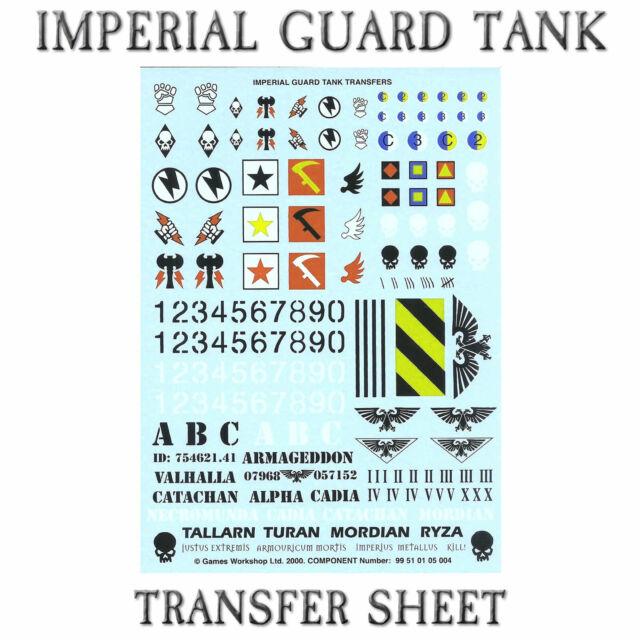 Warhammer 49,000 astra militarum Cadian Transfere sheet  x 2 WH40k
