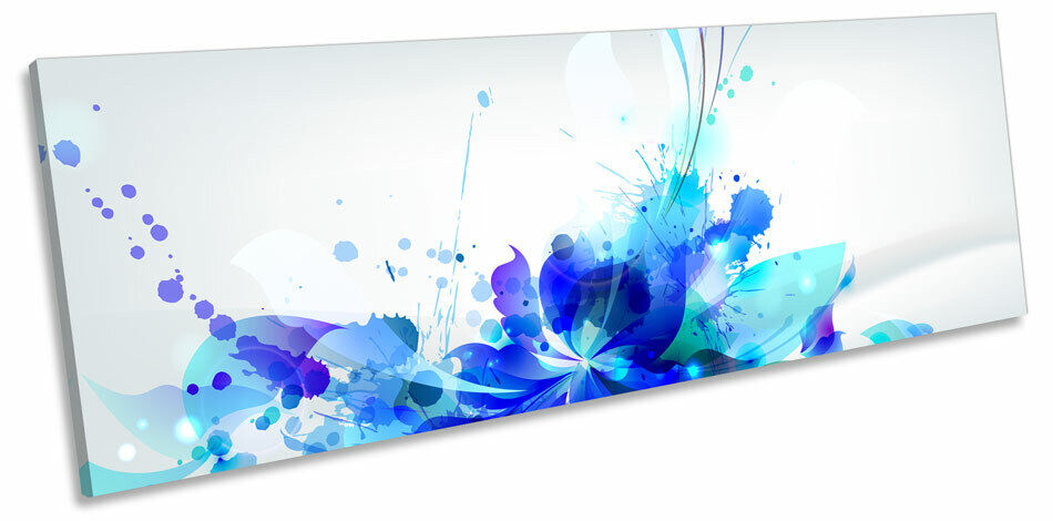 Blau Floral Splash Abstract CANVAS WALL ART Panorama Framed Print