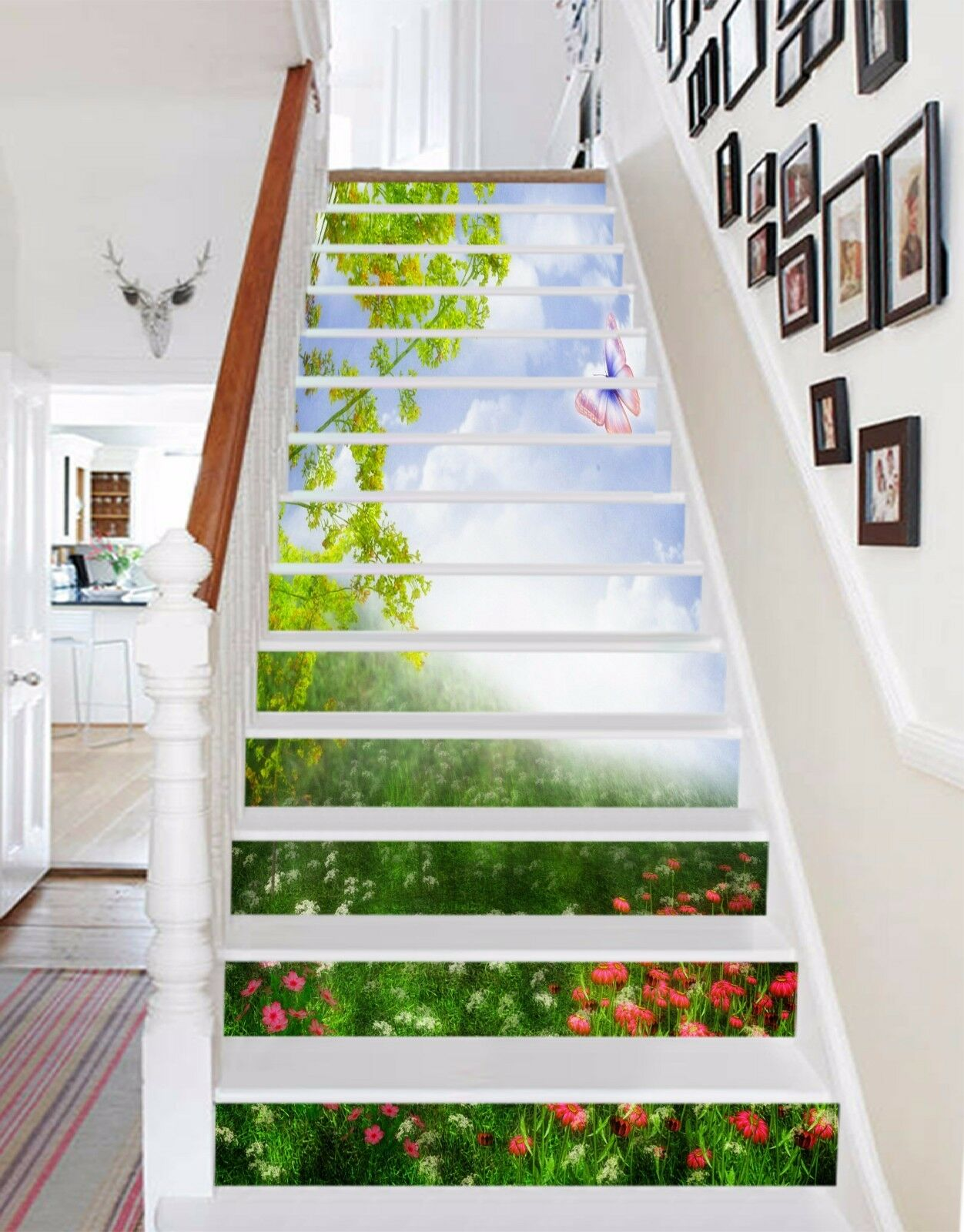 3D Flower Butterfly Stair Risers Decoration Photo Mural Vinyl Decal Wallpaper UK