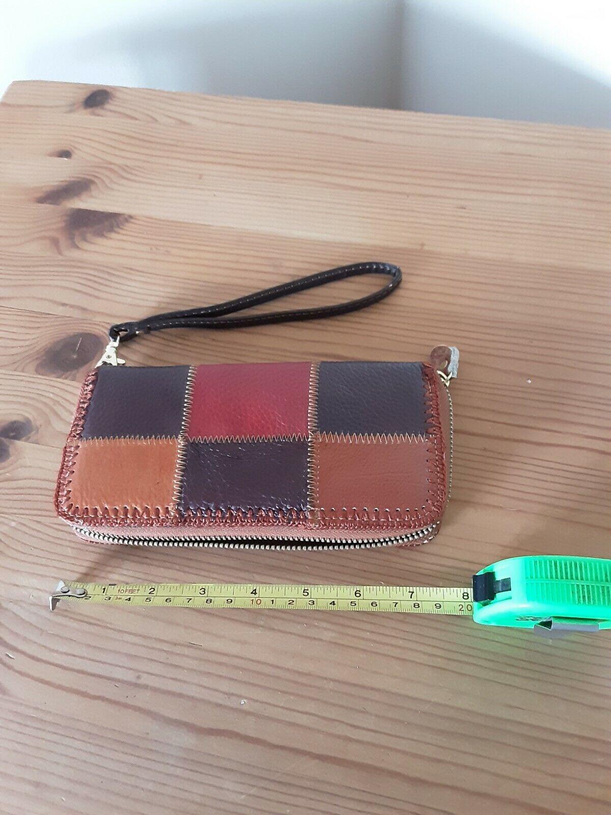 New Leather Purse Multicoloured Patchwork Design