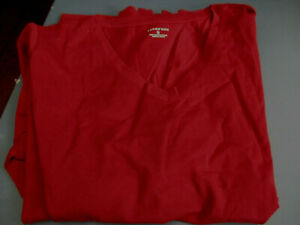 NEW-LANDS-END-WOMENS-L-S-RELAXED-SUPIMA-V-NECK-T-SHIRT-WINEBERRY-LARGE-14-16