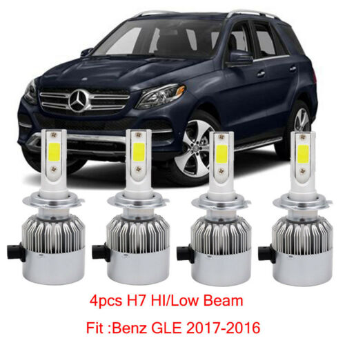 H7 Car LED Headlight Kit Bulb For Mercedes Benz GLE 2017-2016 Hi//Lo Beam
