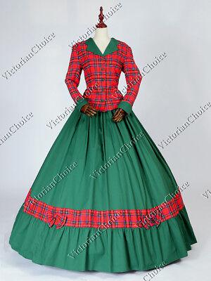 Victorian Civil War Dickens Stripes 3-pc Dress Ball Gown Reenactment Costume 187