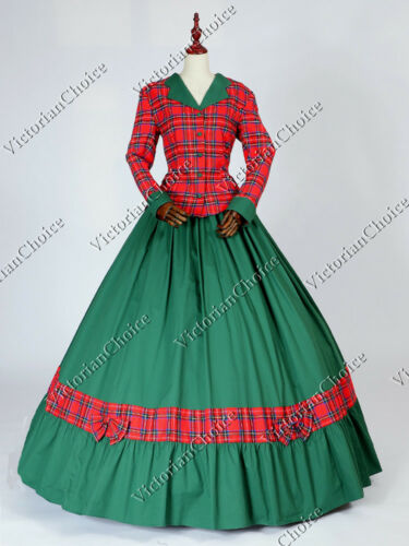 Victorian Civil War Dickens Plaid Pioneer Woman Dress Theatrical Clothing 122