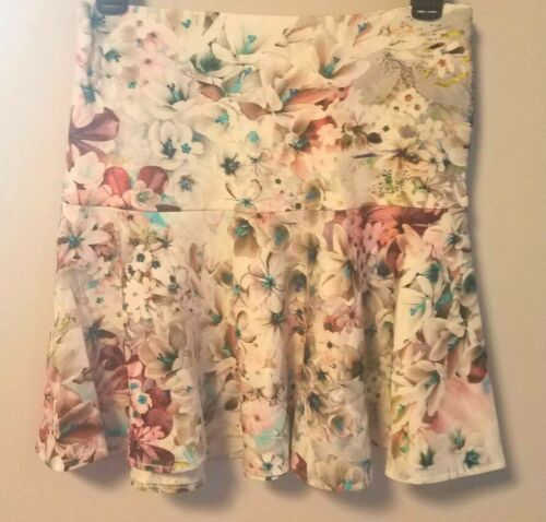 NWT S Karina Grimaldi Floral Drop Waist A-Line Floral Print Scuba Skirt
