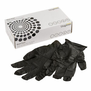 Pack of 100 GP0031 UNICARE Black Nitrile Powder Free Gloves Extra Small