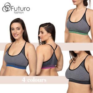 Womens-Sport-Bra-Criss-Cross-Back-Workout-Patterned-Top-Fitness-Yoga-FG6080