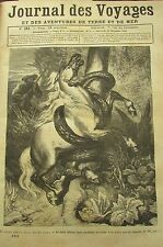 JOURNAL DES VOYAGES N° 181 de 1880 ATTAQUE SERPENT SUR CHEVAL / CHASSE BENGALE