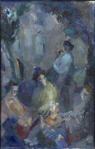 Russischer-Realist-Expressionist-Ol-Leinwand-034-Drei-Frauen-034-56x35-cm