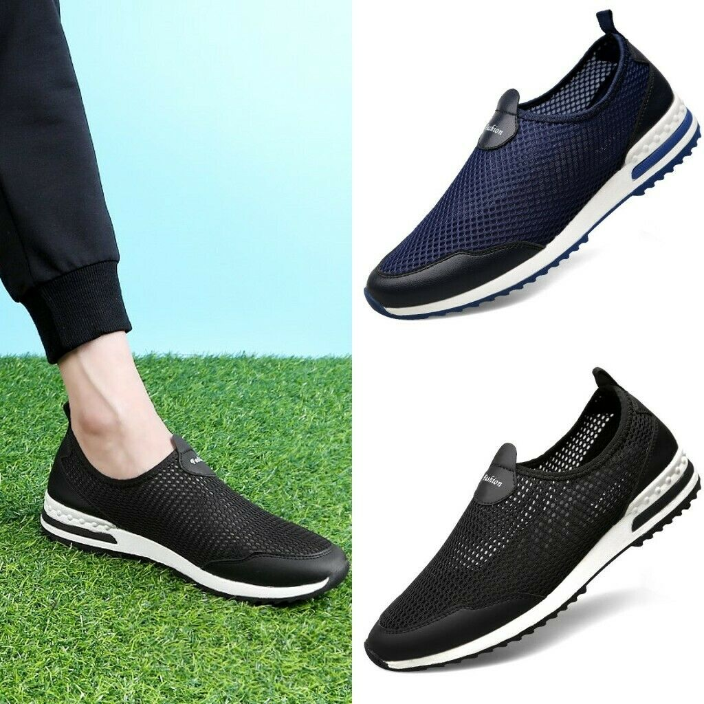 Men Comfy Breathable Slip On Casual Sneakers Mesh Sports shoes Pump US Size 5-13