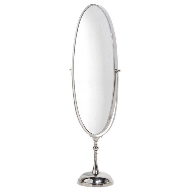 Elegant Large Bedroom Silver Metal Oval Tilt Free Standing Swivel Floor Mirror