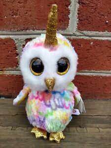 """Ty Beanie Boos 6"""" Enchanted the Uniowl Rainbow Unicorn Owl w Hang & Tush Tag"""