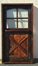 RUSTIC SOLID wood DUTCH DOOR reclaimed lumber wrought iron glass window hardware