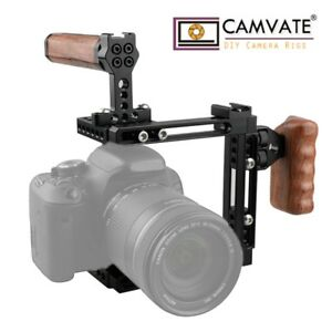 CAMVATE-DSLR-Camera-Cage-Wooden-Handle-for-Canon-70D-80D-5D-MarkIII-Nikon-D610