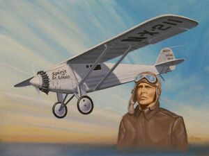 ORIGINAL-AVIATION-PAINTING-OF-CHARLES-LINDBERGH-AND-034-SPIRIT-OF-ST-LOUIS-034