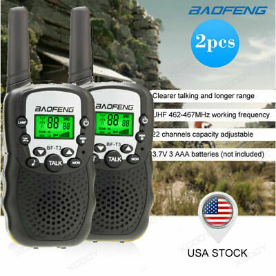 2PCS BF-T3 Kids Walkie Talkie UHF 22CH VOX 462-467MHz 2-Way Radio Long Range USA