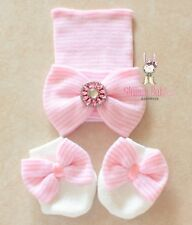 Newborn Baby Infant Girl Comfy pink Cap Beanie Hat Big bow /& mini bow mittens