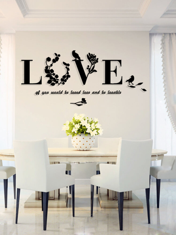 Stylish Removable 3d Leaf Bird Love Wall Sticker Art Vinyl Decals