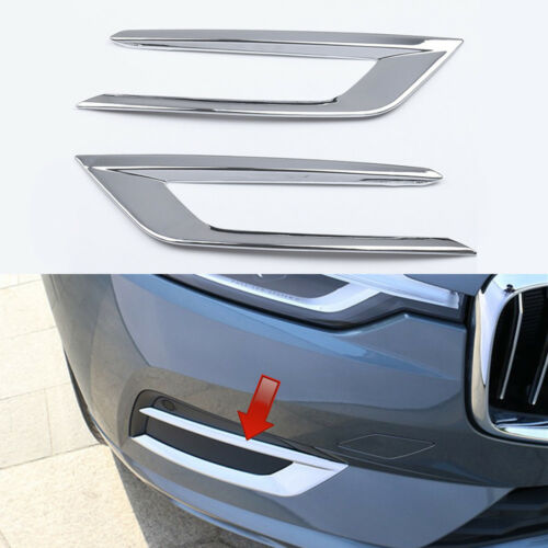 2*For Volvo XC60 2018 2019 Car Front Foglamp Fog Light Cover Trim Accessories