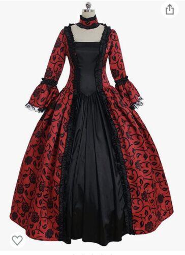 1700 1800 Victorian Ripper Red Black Dress Costume