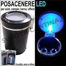 Posa cenere Portacenere Cilindro nero 6,5x10cm auto LED per PUNTO serie 4