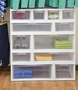'6-Narrow-Bathroom-Drawer-Stackable-Storage-See-Through-Clutter-Organizer-White' from the web at 'https://i.ebayimg.com/images/g/6DcAAOSw44BYi1Bp/s-l300.jpg'