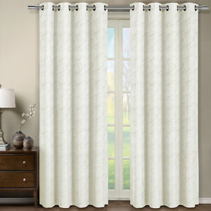 Grommet curtains pattern grommet curtain single - Tabitha Off White Grommet Jacquard Window Curtain Panel 54