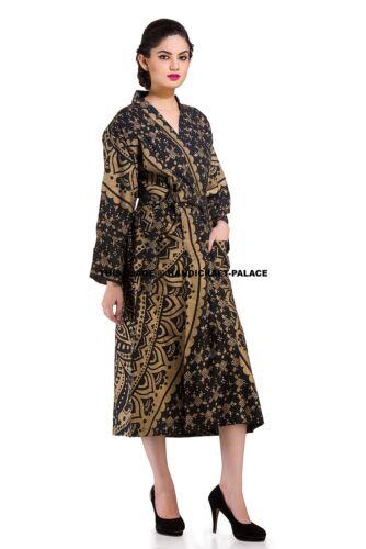 Indina Kimono Robes Lingerie Cover Up Night Dress Black Gold Ombre Mandala Robe