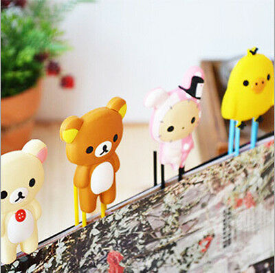 3X Cute Cartoon Animals Paper Note Pin Clips Bookmarks Paperclip School Supply