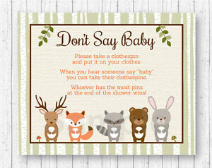 Image Is Loading Woodland Animals Dont Say Baby Baby Shower Game