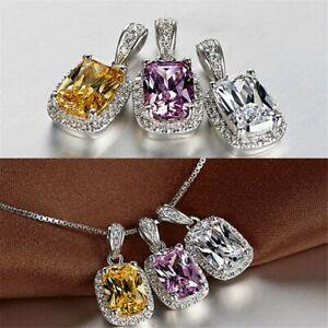 Damen-Halskette-Silber-925-Smaragd-Amethyst-Edelstein-Kette-Silber-mit-Anhaenger