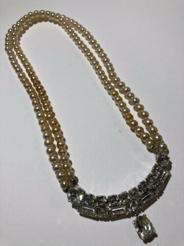 Vintage Statement Double Strand Pearls Choker Neck