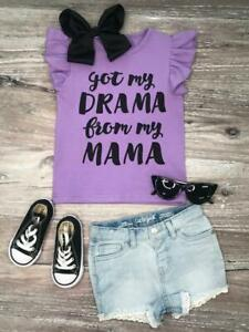 Toddler-Girls-Drama-Mama-Lavender-Flutter-Sleeve-T-Shirt-Tee-Top-2T-3T-4T-5-6