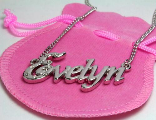 NAME NECKLACE 18K Gold Plated Emilia Emilie Estelle Evelyn Ewa Fabiana Faith