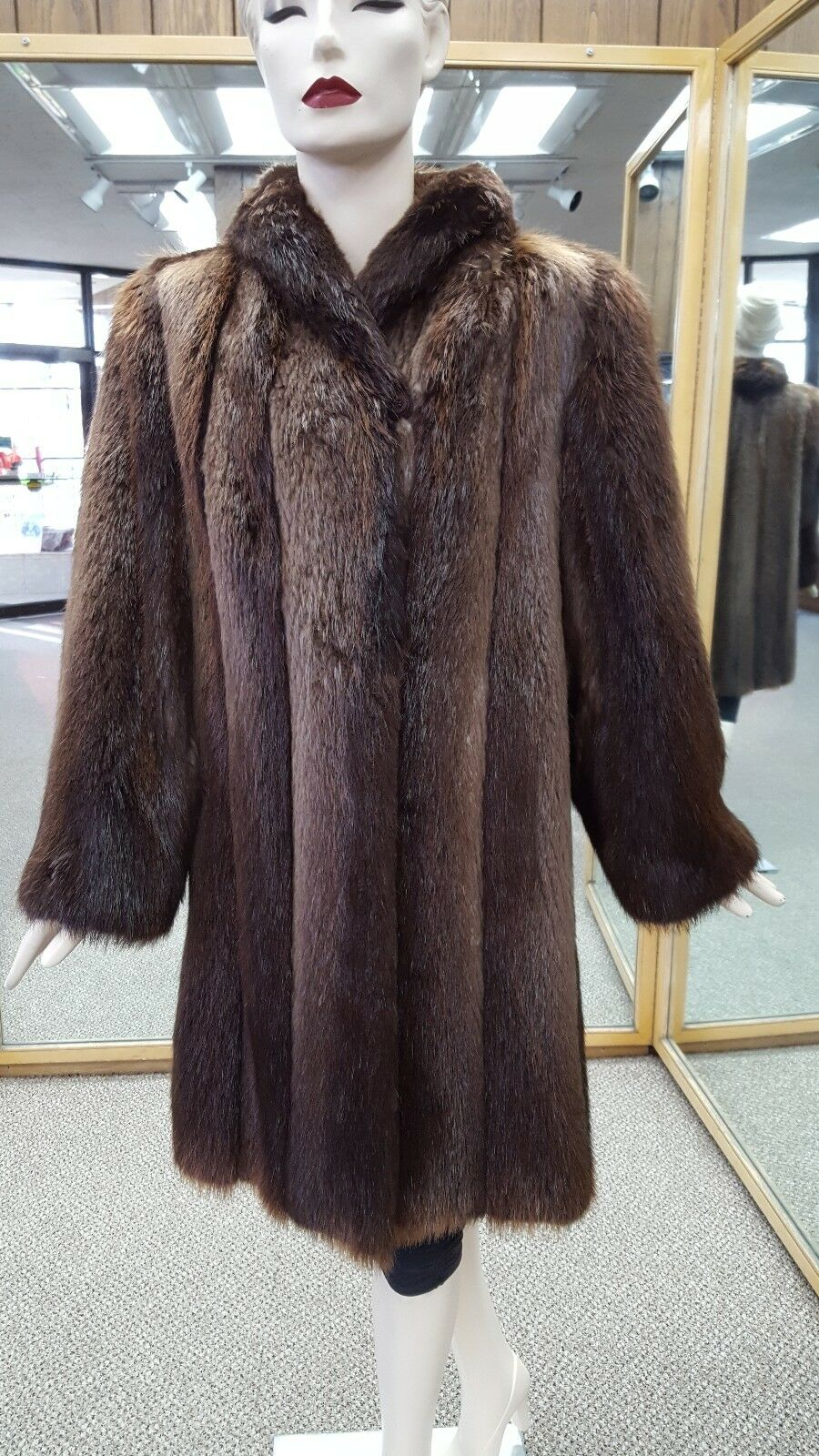 "Rust Long Hair Letout 38"" Beaver Fur Coat - Size 12-14"