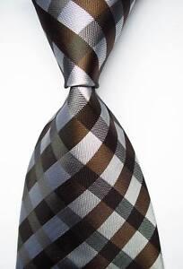 New-Classic-Checks-Brown-White-JACQUARD-WOVEN-100-Silk-Men-039-s-Tie-Necktie