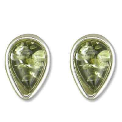 BOXED-925 Sterling Silver Stud Earrings- Green Baltic Amber Teardrop -FREE P&P