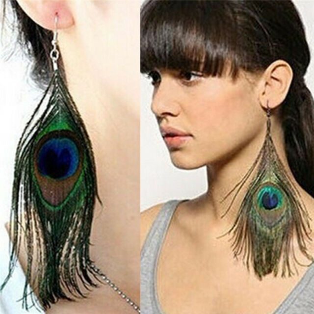 Stylish Assorted Color Peacock Natural Feather Earrings Drop Earrings  FSAU