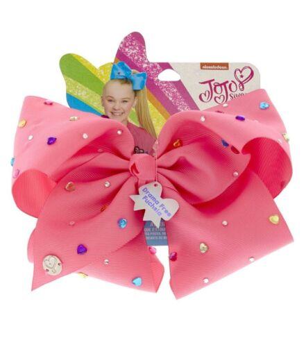 JoJo Siwa Signature DRAMA FREE FUSCIA With Heart Gems Hair Bow NWT Valentines