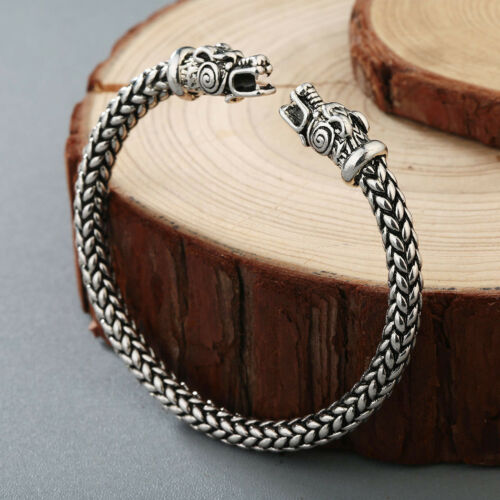 Viking Dragon Head Bracelet Norse Mythology jormungandr Rigide Poignet Hommes Bijoux