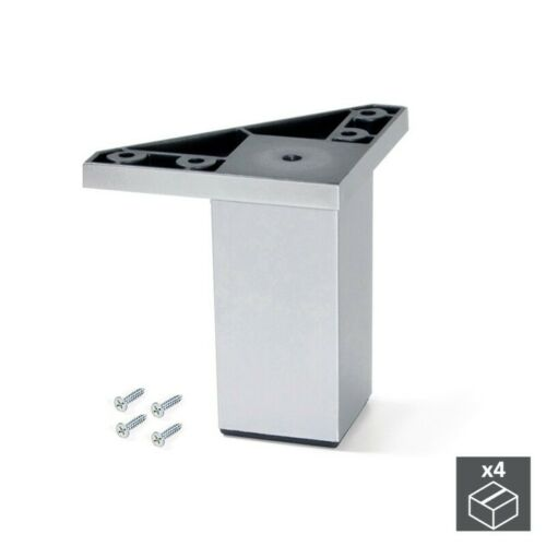 Kit de 4 pieds pour meubles Alumix1 hauteur 80 mm finition gris métallisé