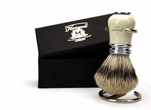 Shaving-Brush-Sliver-Tip-Badger-Hair-4-Men-039-s-With-Stainless-Steel-Stand