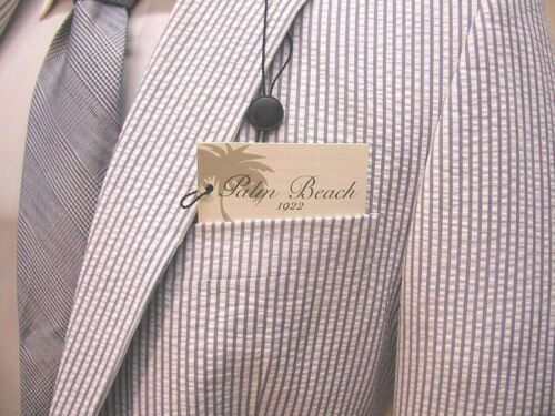 Palm Beach Men/'s Original Blue /& White Seersucker  100/% Cotton 2B Suit $265.00