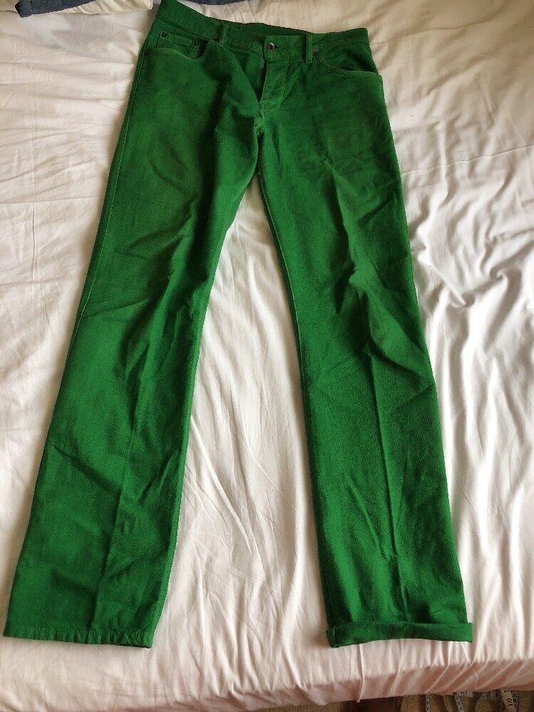 Uomo Raleigh Denim verde Fatto a Mano W33 L34