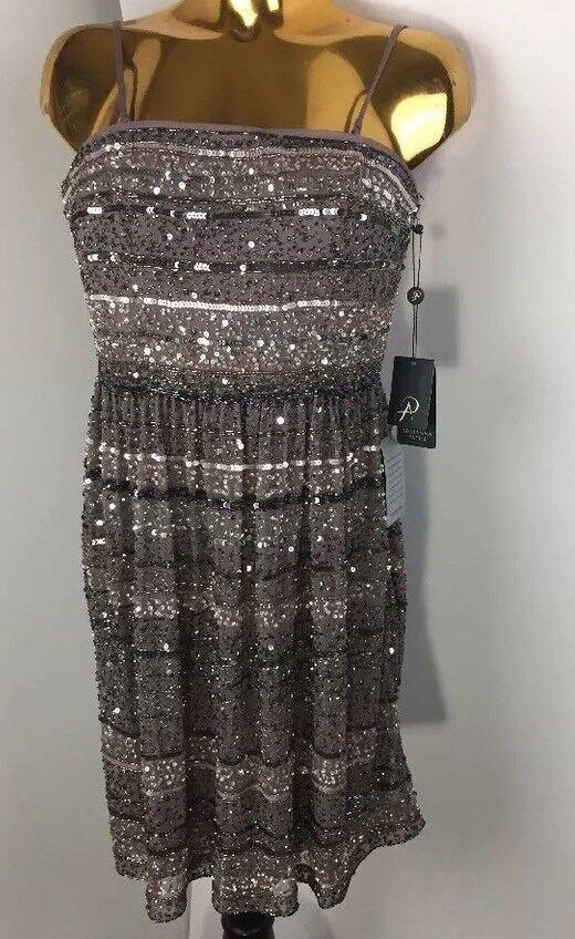 Adrianna Papell Stripeless Stripe  Stone Beaded Party Short Dress 0M    299